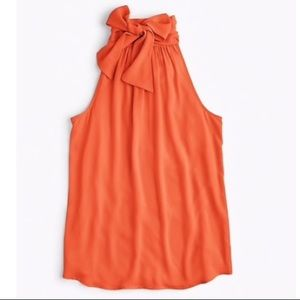 J CREW Tie-neck top in Radiant Orange NWT (10) 🧡